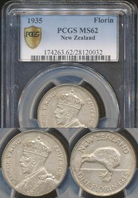 New Zealand, 1935 Florin, 2/-, George V (Silver) - PCGS MS62 (Uncirculated)