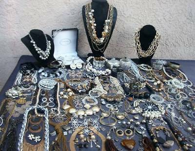 Lot Of Vintage/now Costume Jewelry Glitzy Ice Stones 156 Pieces Nice