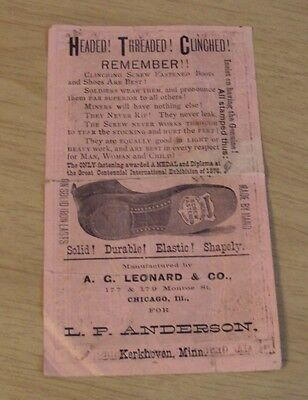 """1880's ADVERTISING Trade Flyer~""""CLINCHING SCREW FASTENED BOOTS/SHOES""""~"""