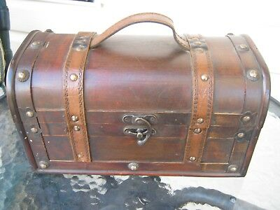 wooden wood and  leather storage box pirate chest retro vintage