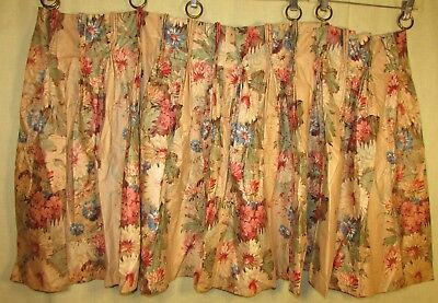 Five Floral Chintz Panels With Round Metal Drapery Hooks, Deco Era