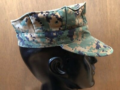 ~Usmc Us Marine Corps Small Woodland Marpat Garrison Cover Hat 8-Point Cap 2006