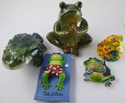 Whimsical  Vtg. Frog Figurines Figural Plastic & Ceramic Green Assorted Sizes