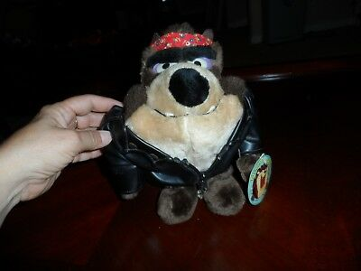 NWT Tasmanian Devil Looney Tunes Time Warner 1993 Plush Biker 24K  Company 9""