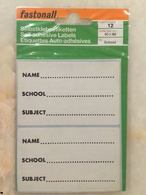 FASTONALL  WHITE PERSONAL SCHOOL NAME SUBJECT BOOK LABELS STICKERS  Pk12 19F051