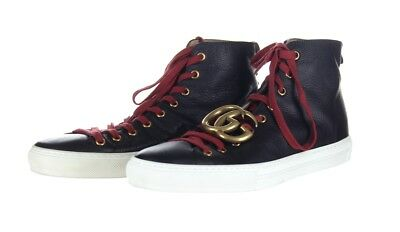 e81a1c5dd5e Gucci Mens Double G High Top Sneaker Trainer Black Leather Shoes 7G Pre  Owned
