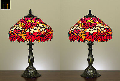 Pair of 2 Tiffany Red Maple Leaf Stained Glass Bedside Table Lamps Light