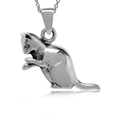 "CAT LOVE  PENDANT STERLING SILVER   18"" NECK CHAIN  STERLING SILVER new"