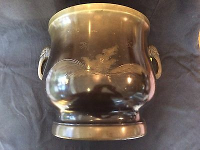 LARGE BRONZE CENSER 24cm H ETCHED FOAMING WAVES & BIRDS DOUBLE ELEPHANT HANDLES