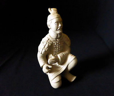 "CHINESE vintage 4.5"" TERRACOTTA / CLAY WARRIOR Soldier figurine statue replica"