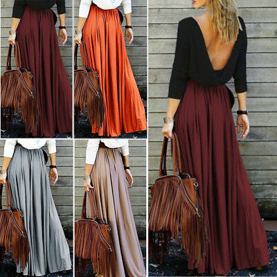 f5d6fdc9a6 Women Lady Boho Summer Flare Pleated Casual Party Maxi Long Beach Skirt  Dress