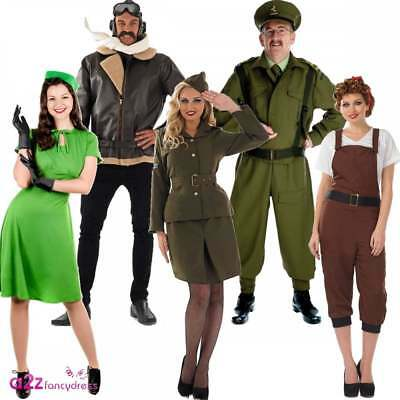 Adults 40s 40's 1940s Wartime WW2 Mens Womens Fancy Dress Uniform Costume Outfit