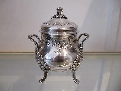 Gorgeous early 20th c french sterling silver sugar bowl rococo st 410g 14,4oz