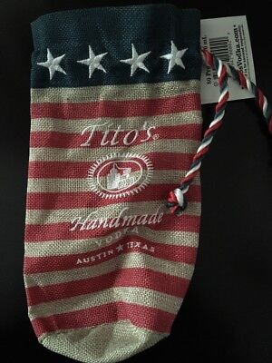 Tito's Vodka USA Flag Burlap Cover Bag Fits over 750ML New w Tags