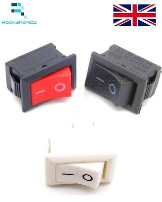 18mm X 11mm  SPST Small Rectangular Rocker Switch Black White 2 Pin ON-OFF 250V