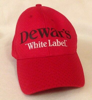 "Baseball Trucker Cap Hat Dewar's ""White Label"" Adjustable Hook and Loop Red New"