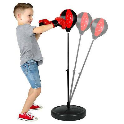Kids Children's Free Standing Junior Boxing Punch Bag Ball Gloves Play Gift Set