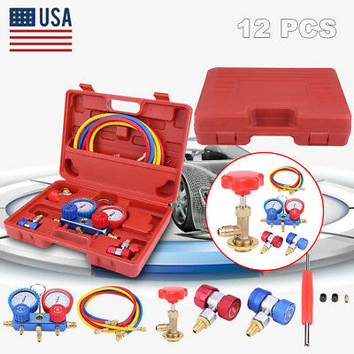 R134A Kit AC A/C Manifold Gauge Set+5FT Colored Hose Air Conditioner w/ Case Red