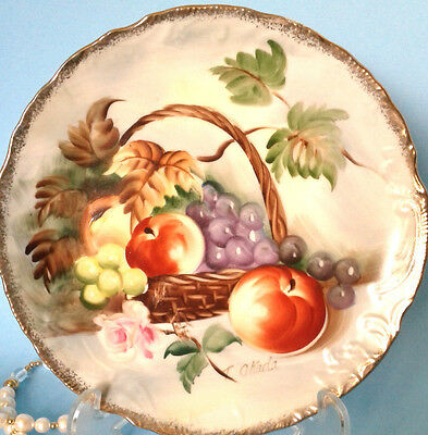 """Norleans Stunning Hand Painted Artist Signed Fruit Basket 8 1/4"""" Cake Plate"""