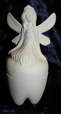 Ceramic Ready to Paint Tooth Fairy siting on a Tooth Box