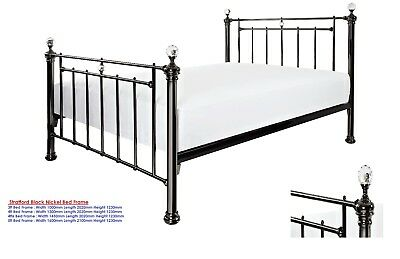 Rebecca Metal Bed Frame In Black Satin Gold Single Or Double Or