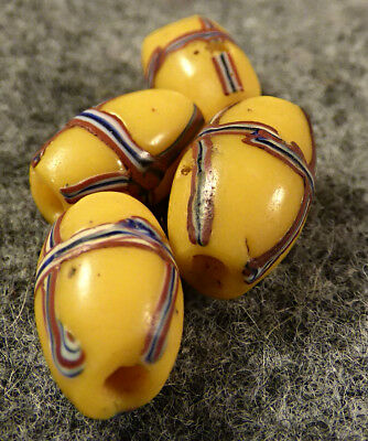 (4) Original French Cross Glass Indian Trade Beads Yellow Fur Trade 1700's