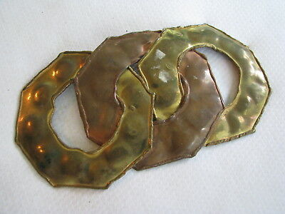 Vintage TRIPLE RING CIRCLE Hammered Brass & Copper Tone BELT BUCKLE Hippie Boho