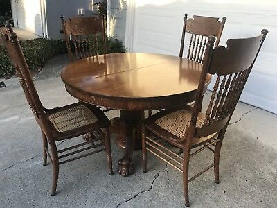 "Reduced 50%- Antique Oak Clawfoot 45"" Table And 4 Matcing Chairs"