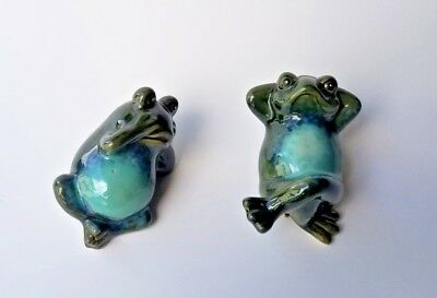 Pair Vintage Hand Painted Ceramic Frog 5 Inches glazed lazy pose
