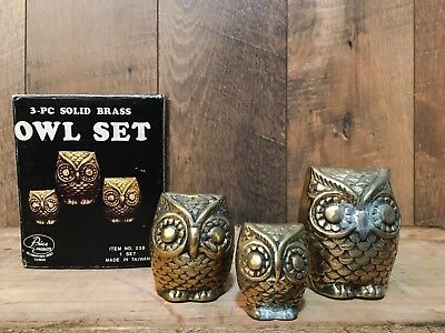 Vintage 3-Pc Solid Brass Owl Set Price Products W/box