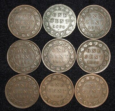 9 Large Cents from Canada.  1859-1890.  No Reserve!