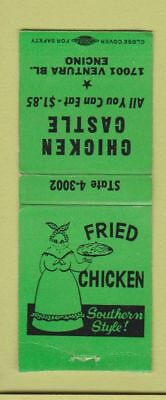 Matchbook Cover - Chicken Castle Encino CA Black Americana BOBTAIL