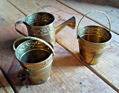 """3 Small Decorative Solid Brass Water Can and Buckets India 2.5"""""""