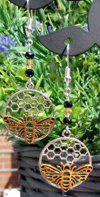 Bee earrings honeycomb silver and gold dangle