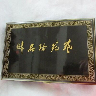 Beautiful Oriental Calligraphy Writing Set In Lacquerware Box Carved Accessories