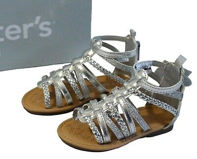 cff5d974e60 Carter s Smile Toddler Girls 5 6 7 8 Silver Gladiator Sandals Glittery  Summer