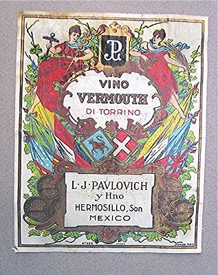 Vintage Wine Labels -- Vino Vermouth Di Torrino - Mexico