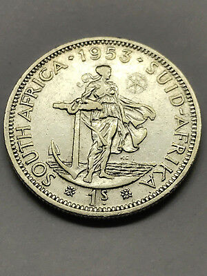 1953 South Africa 1 Shilling Silver Rare VF #13065