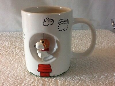 PEANUTS SNOOPY AS THE FLYING ACE CERAMIC 12 OZ SPINNER COFFEE MUG pre-owned