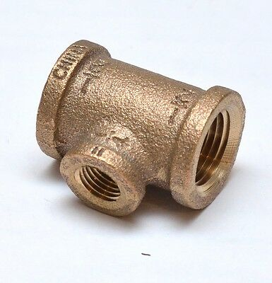 1/2 x 1/4 NPT Female Tee Reducer Brass Fitting Fuel Air Water Oil Gas FasParts