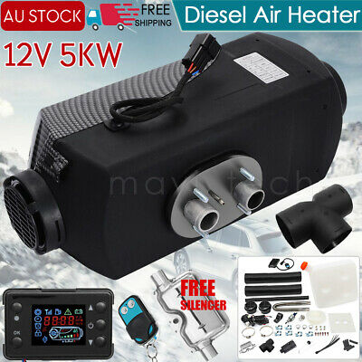 12V 5KW Diesel Air Heater Tank Vent Duct Thermostat Caravan Motor RV W/ Silencer