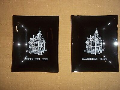 Houze Art Smoke Glass~Mansion Inn~Lot of 2 Dishes~Mint Condition