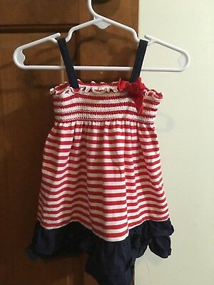 4ea6bac4c1b GIRLS OSHKOSH RED White   Blue 4th of July dress 12m -  8.50