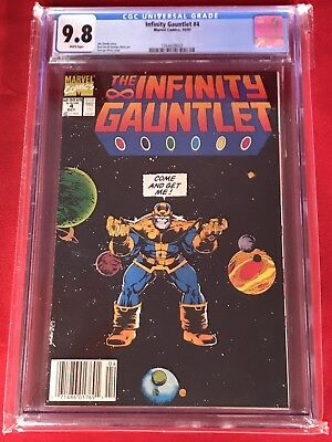 Infinity Gauntlet # 4 Cgc 9.8 White Pages Thanos Avengers Movie Nm Mint