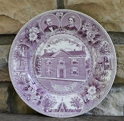 Vtg Mulberry Purple Staffordshire Souvenir Plate Andrew Johnson Home Tennessee