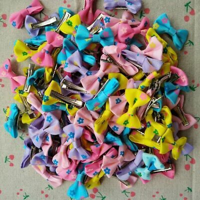 10pcs Tiny Baby Girls Kids Grosgrain Ribbon Hair Bows with Alligator Clips