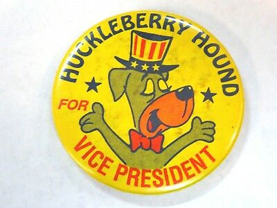 "Hanna Barbera Huckleberry Hound for Vice President 1 3/4"" Metal Pinback 1964"
