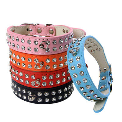 LK _ Luxe Strass Collier de chien strass bling simili cuir Chiot Chat Animal sur