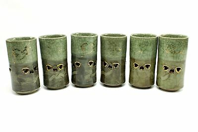 Vintage Somayaki Tall Double Wall Crackle Ceramic Cups Green Gold Horse Japan