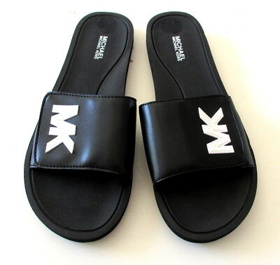 8227ab758f3a NEW Michael Kors Womens MK Sport Slide Black Sandals W  White Logo Shoe 7 8